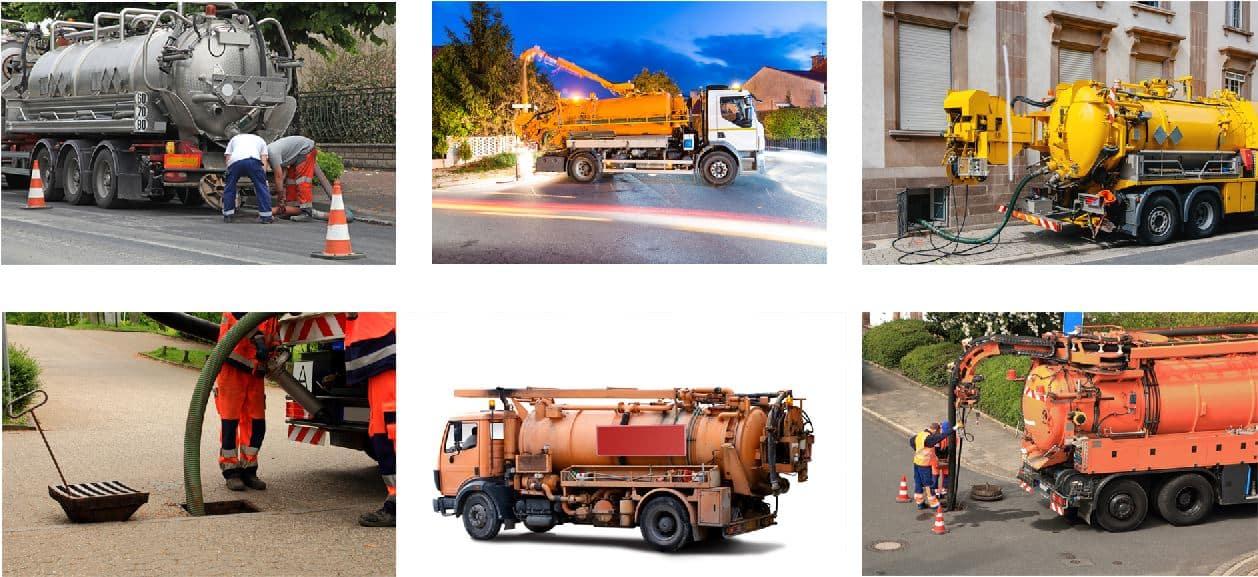 des camions pour l'assainissement