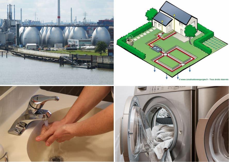 multiple photos machine à laver - ecoulement de l'eau