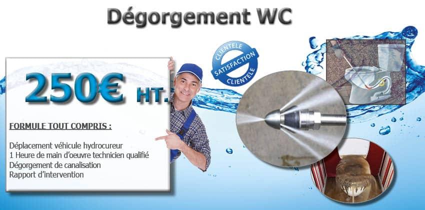 Dégorgement WC véhiculeur hydrocureur