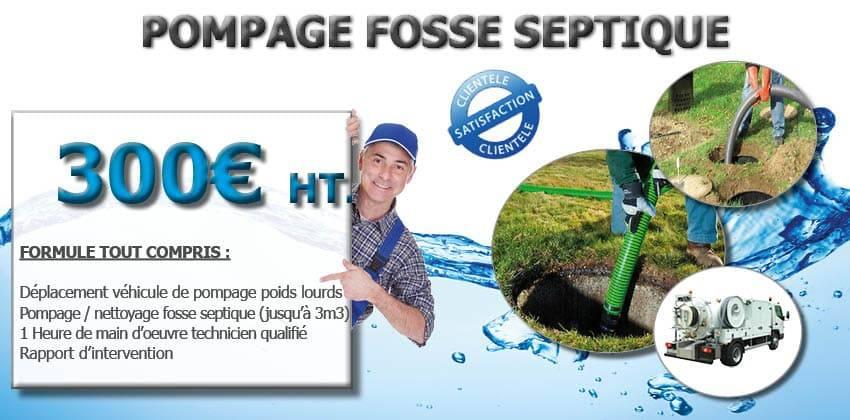pompage fosse Dégorgement WC véhiculeur hydrocureur promotion
