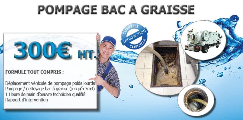 Pompage bac à graisse promotion nettoyage